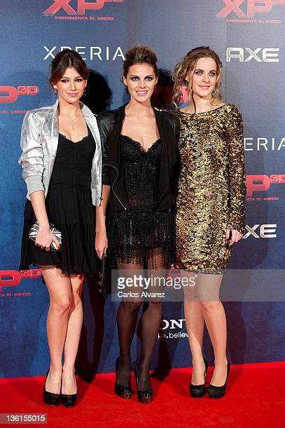 Actresses Ursula Corbero Amaia Salamanca and Alba Ribas attend XP3D premiere at the Callao cinema on December 27 2011 in Madrid Spain