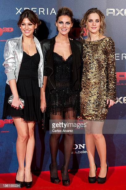 Actresses Ursula Corbero Amaia Salamanca and Alba Ribas attend XP3D premiere at the Callao cinema on December 27 2011 in Madrid Spain