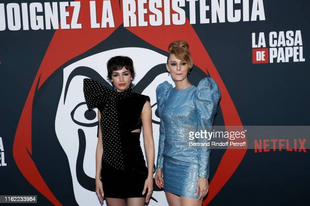 Actresses Ursula Corbero and Esther Acebo attend the La Casa De Papel Premiere At Monnaie De Paris on July 15 2019 in Paris France