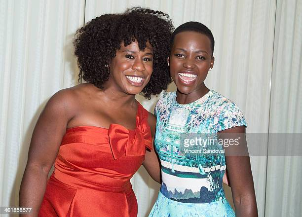 Actresses Uzo Aduba and Lupita Nyong'o attend the DuJour Magazine celebrates great performances issue featuring 12 Years A Slave Golden Globe Nominee...