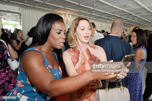 Actresses Uzo Aduba and Sharon Lawrence attend the 2015 BAFTA Los Angeles TV Tea at SLS Hotel on September 19 2015 in Beverly Hills California