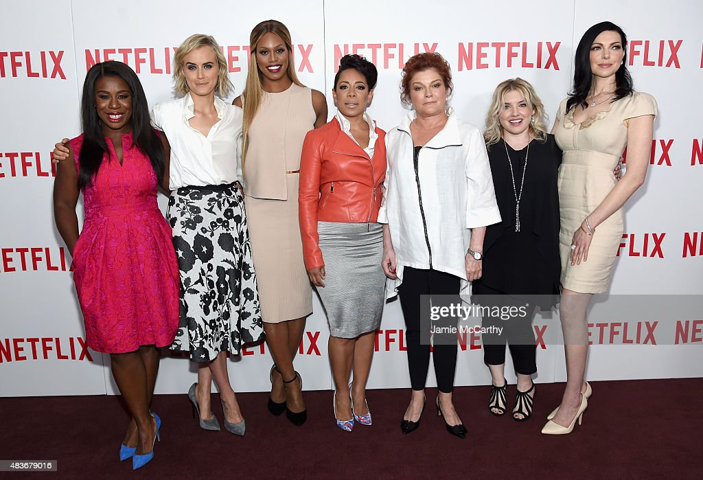 Actresses Uzo Aduba, Taylor Schilling, Laverne Cox, Selenis Leyva, and Kate Mulgrew, casting director Jennifer Euston, and actress Laura Prepon attend the 'Orange Is The New Black' FYC screening at DGA Theater on August 11, 2015 in New York City.