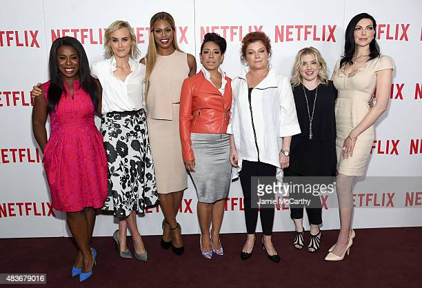 Actresses Uzo Aduba Taylor Schilling Laverne Cox Selenis Leyva and Kate Mulgrew casting director Jennifer Euston and actress Laura Prepon attend the...