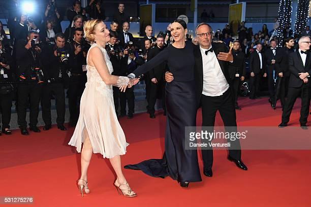 Actresses Valeria Bruni Tedeschi Juliette Binoche and Fabrice Luchini attend the 'Slack Bay ' premiere during the 69th annual Cannes Film Festival at...