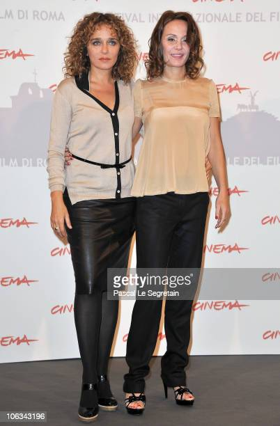 Actresses Valeria Golino and Antonella Ponziani pose at the 'La Scuola E Finita' Photocall during the 5th International Rome Film Festival at the...