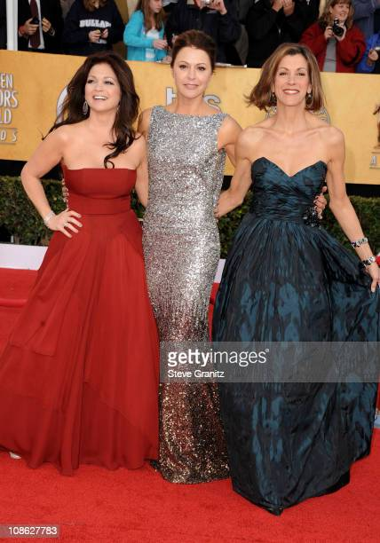 Actresses Valerie Bertinelli Jane Leeves and Wendie Malick arrive at the 17th Annual Screen Actors Guild Awards held at The Shrine Auditorium on...