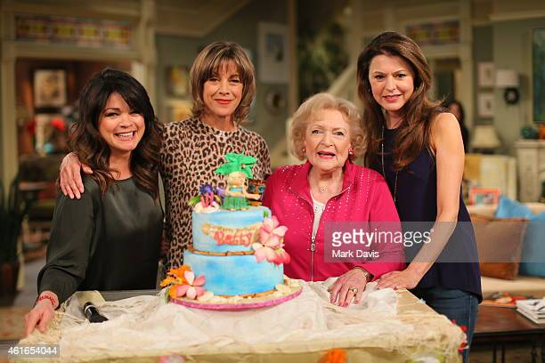 Actresses Valerie Bertinelli, Wendie Malick, Betty White and Jane Leeves pose at the Betty White celebratation of her 93rd birthday on the set of...