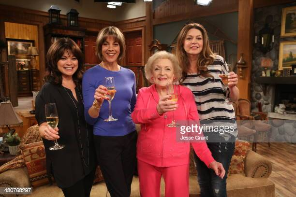Actresses Valerie Bertinelli Wendie Malick Betty White and Jane Leeves pose onstage during Hot in Cleveland LIVE at the CBS Studio Center on March 26...