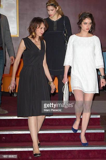 Actresses Valerie Bonneton and Clara Ponsot arrive to attend the 'Des Gens Qui S'embrassent' Premiere at Cinema Gaumont Marignan on April 1 2013 in...