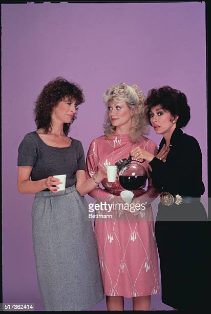Actresses Valerie Curtain Rachel Dennison and Rita Moreno pose with styrofoam cups and a pot of coffee in a studio photo promoting the television...