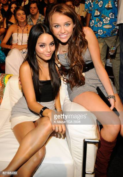 LOS ANGELES CA AUGUST 03 Actresses Vanessa Anne Hudgens and host Miley Cyrus during the 2008 Teen Choice Awards at Gibson Amphitheater on August 3...