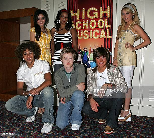 Actresses Vanessa Anne Hudgens, Monique Coleman and Ashley Tisdale, and actors Corbin Bleu, Lucas Grabeel and Zac Efron attend a Q&A session with the...