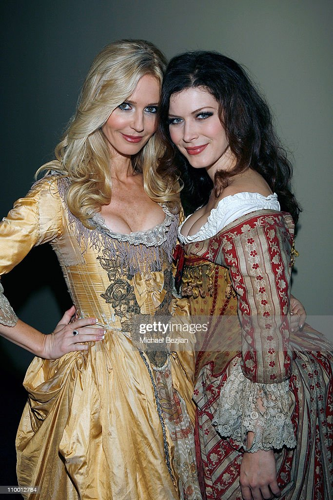 Actresses Vanessa Branch and Lauren Maher pose backstage at the Pirates of the Caribbean Wenches Appearance on EXTRA at EXTRA studios on Decemeber 6, 2007 in Burbank, California.