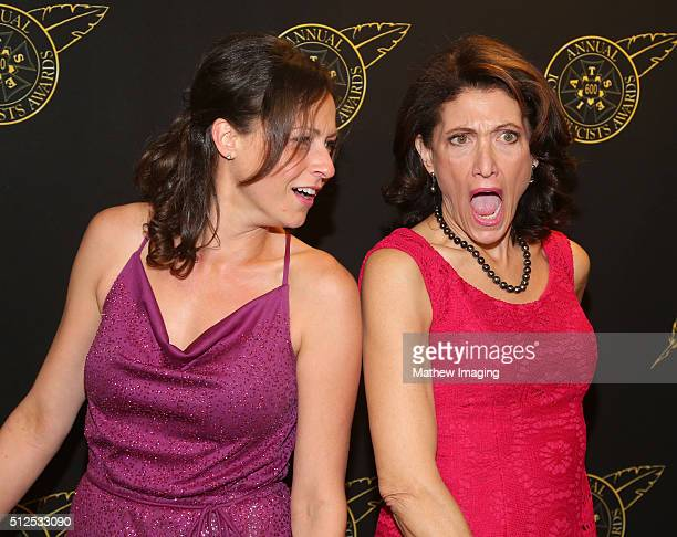 Actresses Vanessa Cloke and Amy Aquino pose backstage at the 53rd Annual ICG Publicists Awards at The Beverly Hilton Hotel on February 26 2016 in...