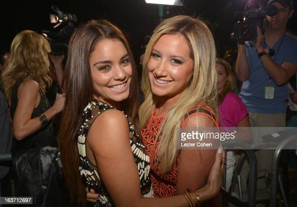Actresses Vanessa Hudgens and Ashley Tisdale attend the Spring Breakers Los Angeles Premiere at ArcLight Hollywood on March 14 2013 in Hollywood...