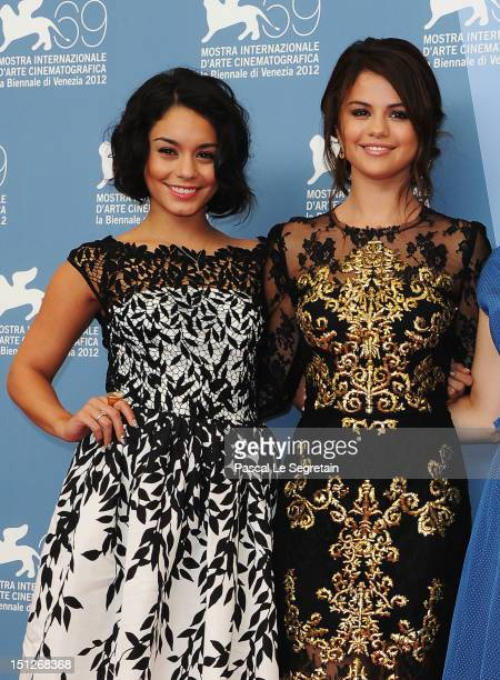Actresses Vanessa Hudgens and Selena Gomez attend the Spring Breakers Photocall during the 69th Venice Film Festival at the Palazzo del Casino on...
