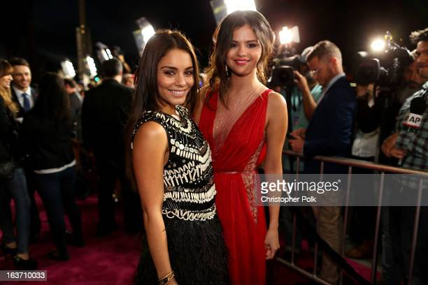 Actresses Vanessa Hudgens and Selena Gomez attend the 'Spring Breakers' premiere at ArcLight Cinemas on March 14 2013 in Hollywood California