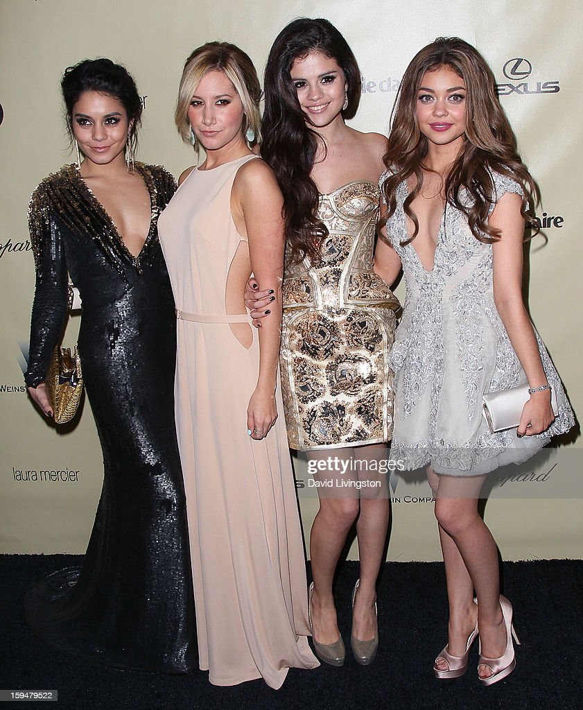 Actresses Vanessa Hudgens, Ashley Tisdale, Selena Gomez and Sarah Hyland attend The Weinstein Company's 2013 Golden Globe Awards After Party at The Beverly Hilton hotel on January 13, 2013 in Beverly Hills, California.
