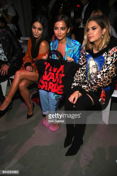 Actresses Vanessa Hudgens Isabela Moner and Ashley Benson attend the Jeremy Scott Fashion Show during New York Fashion Week at Spring Studios on...