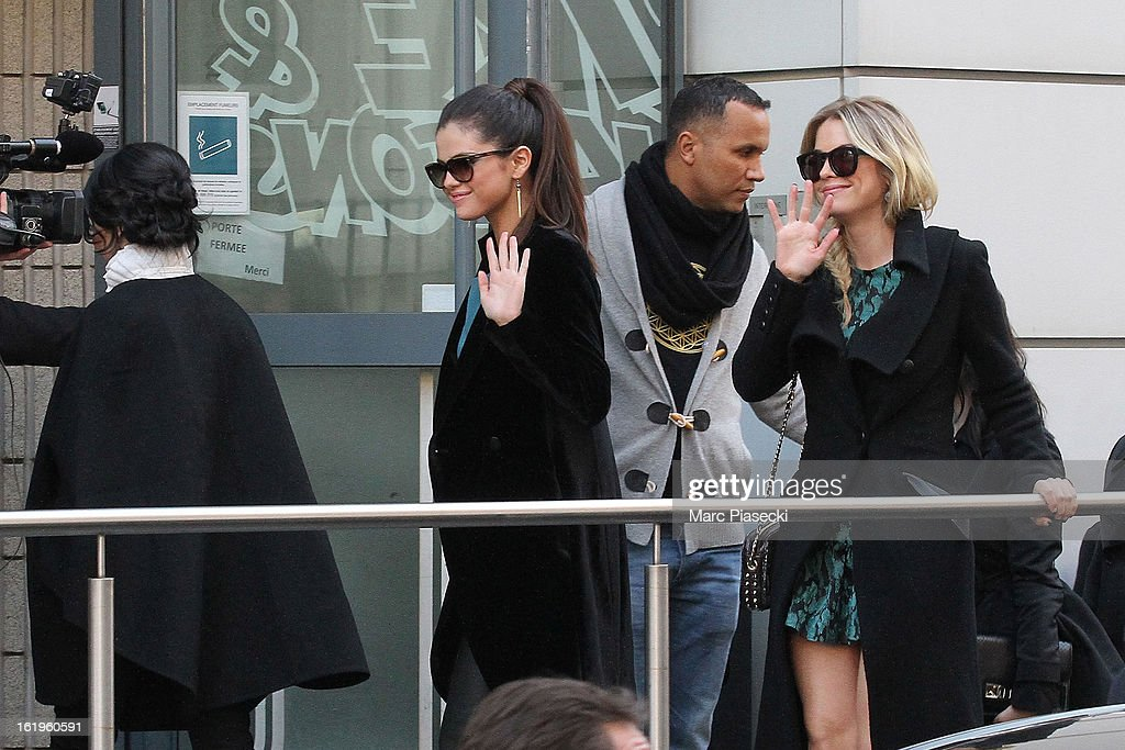 Actresses Vanessa Hudgens, Selena Gomez and Ashley Benson arrive at 'NRJ' radio station on February 18, 2013 in Paris, France.