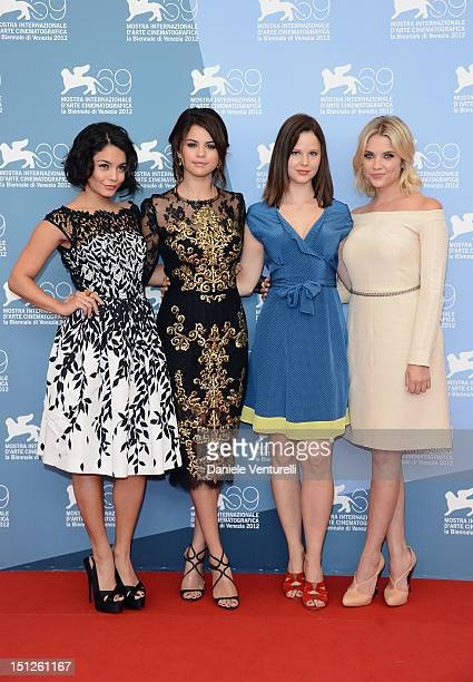Actresses Vanessa Hudgens Selena Gomez Rachel Korine and Ashley Benson attend Spring Breakers Photocall during The 69th Venice Film Festival at the...