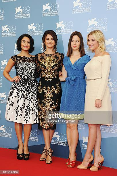 Actresses Vanessa Hudgens Selena Gomez Rachel Korine and Ashley Benson attend the Spring Breakers Photocall during the 69th Venice Film Festival at...
