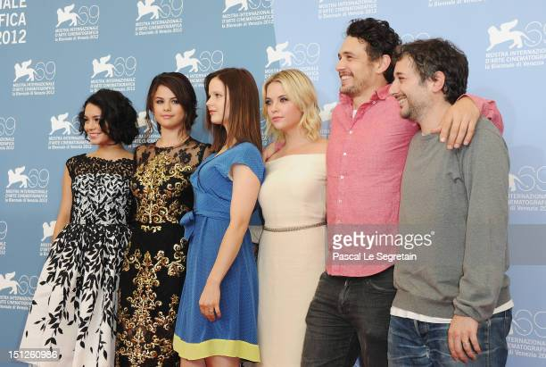 Actresses Vanessa Hudgens Selena Gomez Rachel Korine Ashley Benson actor James Franco and director Harmony Korine attend the Spring Breakers...