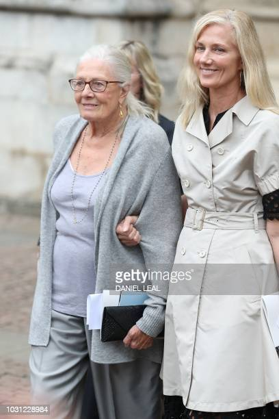 Actresses Vanessa Redgrave and her daughter Joely Richardson leave from Westminster Abbey in central London on September 11 after attending a service...