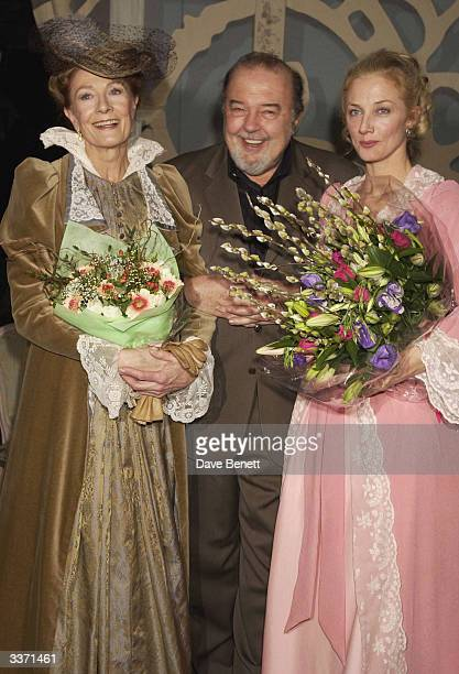 FEBRUARY 21 Actresses Vanessa Redgrave and Joely Richardson with director Sir Peter Hall at the opening night party for 'Lady Windermere's Fan' held...
