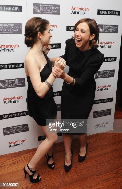 Actresses Vera Farmiga and Anna Kendrick laugh together as they attend the premiere of 'Up In The Air' during the Times BFI 53rd London Film Festival...