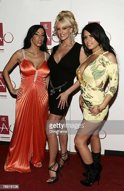 Actresses Veronica Rayne Stormy Daniels and Eva Angelina arrive at a naughty night to remember at TAO Nightclub at The Venetian Hotel and Casino...