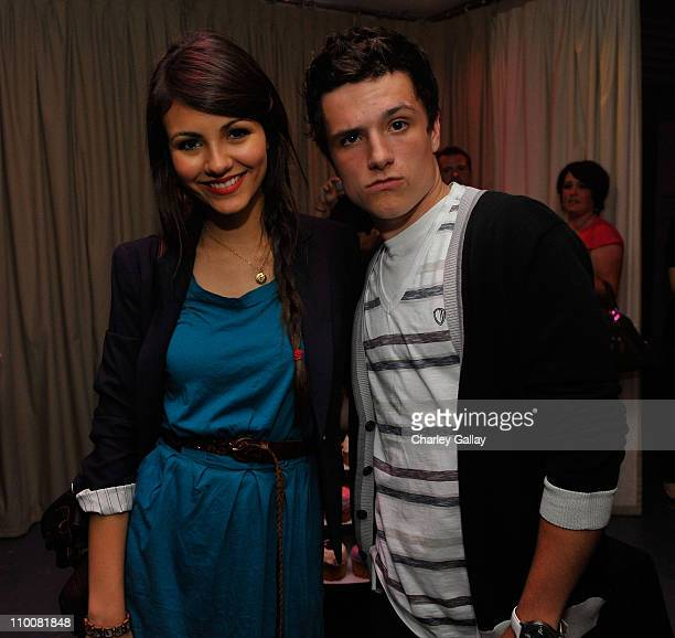Actresses Victoria Justice and actor Josh Hutcherson pose at Miranda Cosgrove's Sweet 16 Party at Siren on May 16, 2009 in Los Angeles, California.