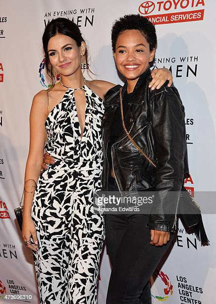 Actresses Victoria Justice and Kiersey Clemons arrive at An Evening With Women Benefiting The Los Angeles LGBT Center at the Hollywood Palladium on...