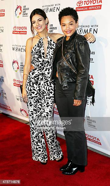 Actresses Victoria Justice and Kiersey Clemons attend An Evening with Women Benefiting the Los Angeles LGBT Center at the Hollywood Palladium on May...