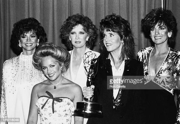 Actresses Victoria Principle Charlene Tilton Susan Howard Jane Fonda and Linda Gray attending 36th Annual Primetime Emmy Awards on September 23 1984...