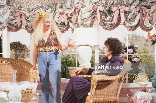 Actresses Victoria Wood and Julie Walters in a scene from episode 'Over to Pam' of the BBC television series 'Victoria Wood', November 1st 1989.