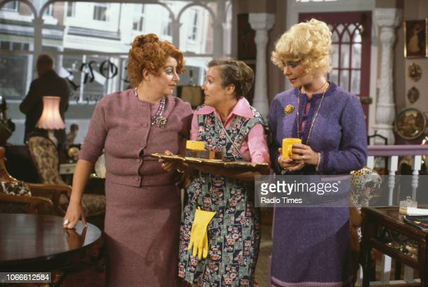 Actresses Victoria Wood, Julie Walters and Celia Imrie in an Acorn Antiques scene from the BBC television special 'Victoria Wood's All Day...