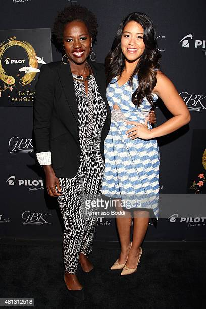 Actresses Viola Davis and Gina Rodriguez attend the Pilot Pen and GBK Luxury Lounge honoring Golden Globe nominees and presenters held at the W...