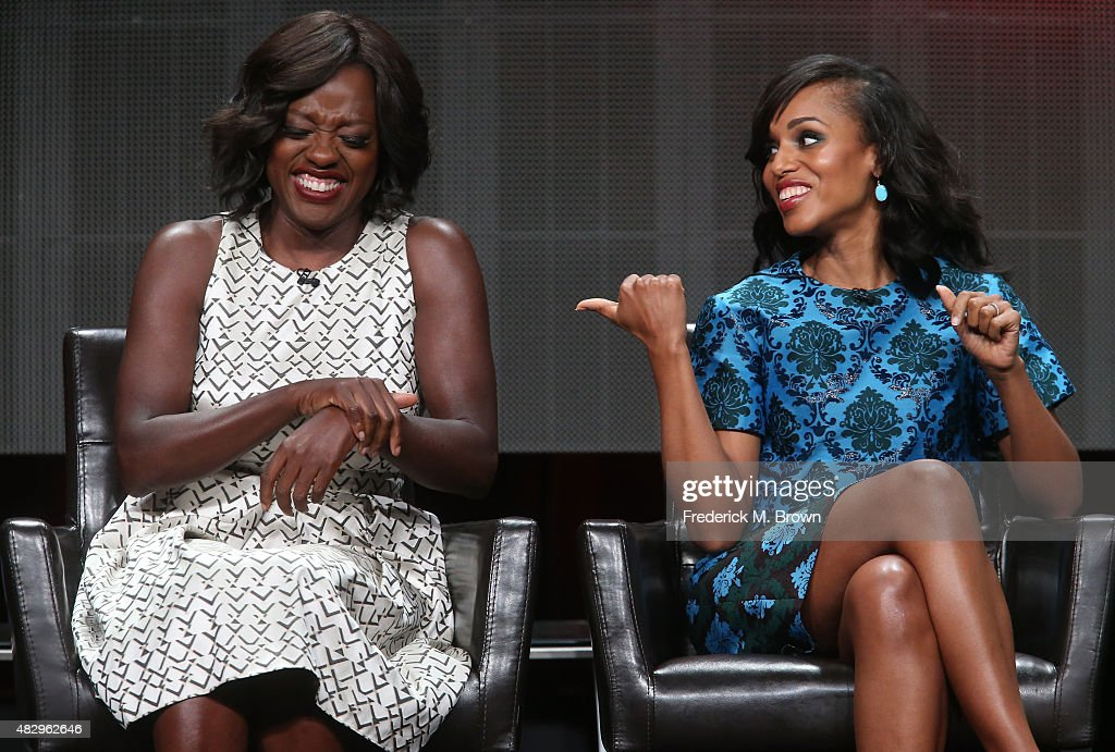 Actresses Viola Davis (L) and Kerry Washington speak onstage during the 'Grey's Anatomy,' 'Scandal,' and 'How To Get Away With Murder' panel discussion at the ABC Entertainment portion of the 2015 Summer TCA Tour at The Beverly Hilton Hotel on August 4, 2015 in Beverly Hills, California.