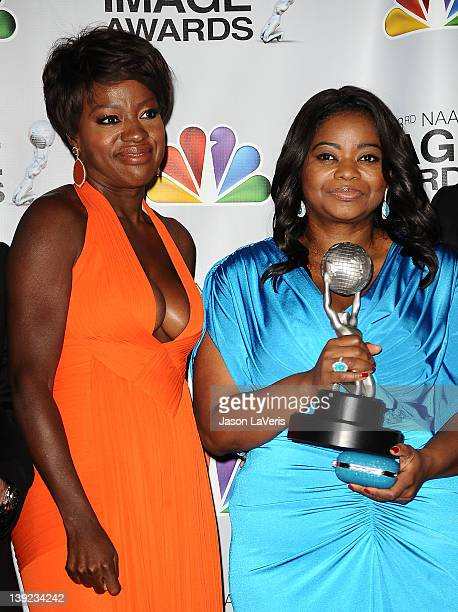 Actresses Viola Davis and Octavia Spencer pose in the press room at the 43rd annual NAACP Image Awards at The Shrine Auditorium on February 17 2012...