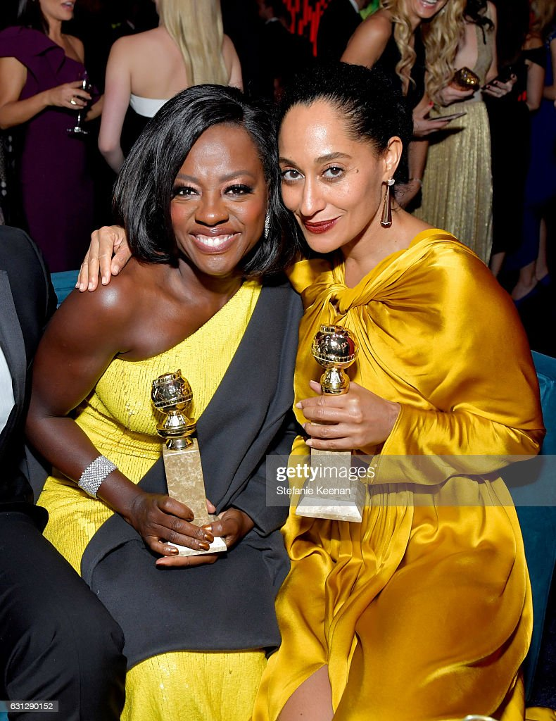 Actresses Viola Davis (L) and Tracee Ellis Ross attends The 2017 InStyle and Warner Bros. 73rd Annual Golden Globe Awards Post-Party at The Beverly Hilton Hotel on January 8, 2017 in Beverly Hills, California.