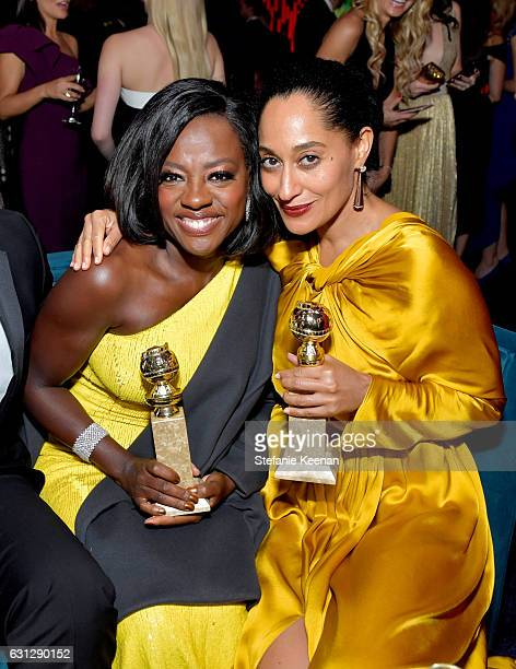 Actresses Viola Davis and Tracee Ellis Ross attends The 2017 InStyle and Warner Bros 73rd Annual Golden Globe Awards PostParty at The Beverly Hilton...