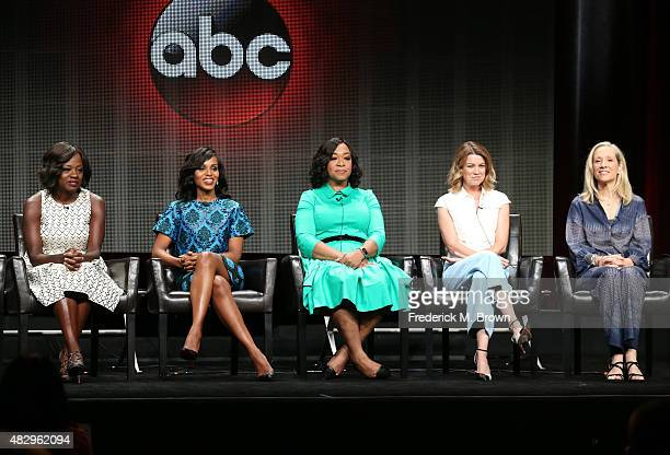 Actresses Viola Davis Kerry Washington executive producer Shonda Rhimes and actress Ellen Pompeo speak onstage during the 'Grey's Anatomy' 'Scandal'...