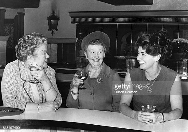 Actresses Violet Carson Margo Bryant and Pat Phoenix three stars from the popular television soap opera Coronation Street at the London Palladium 1966