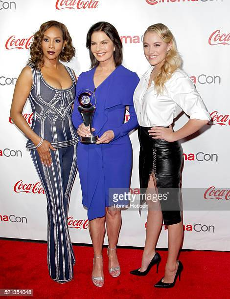 Actresses Vivica A Fox Sela Ward and Maika Monroe recipients of the Ensemble of the Universe Award for 'Independence Day Resurgence' attend the...