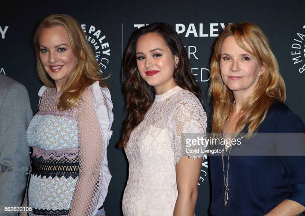 Actresses Wendi McLendonCovey and Hayley Orrantia and actress/director Lea Thompson attend 'The Goldbergs' 100th episode celebration at The Paley...