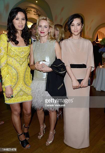 Actresses Wendi Murdoch Naomi Watts and Li Bingbing arrive at Vanity Fair and Gucci Party at Hotel Du Cap during 65th Annual Cannes Film Festival on...