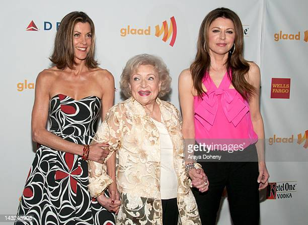Actresses Wendie Malick Betty White and Jane Leeves arrive at the 23rd Annual GLAAD Media Awards at Westin Bonaventure Hotel on April 21 2012 in Los...
