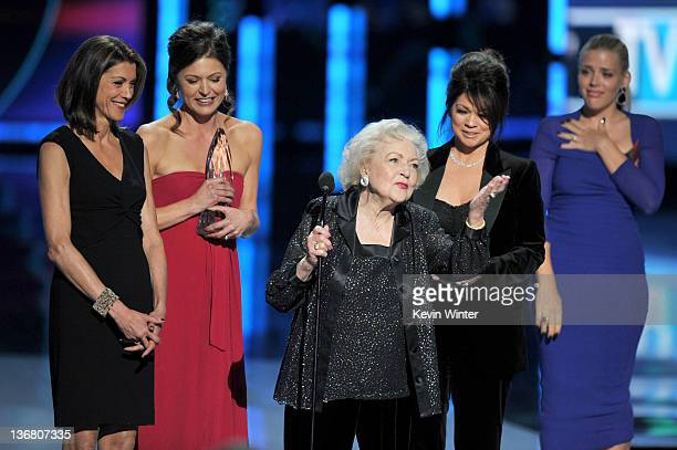 """Actresses Wendie Malick, Jane Leeves, Betty White and Valerie Bertinelli, winners Favorite Cable TV Comedy for """"Hot in Cleveland,"""" speak onstage with..."""