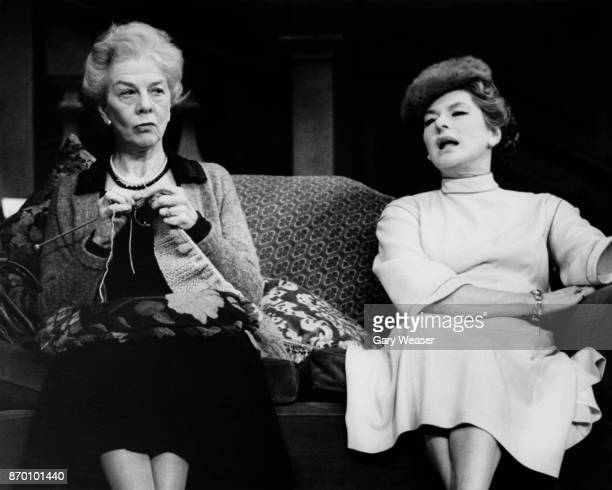 Actresses Wendy Hiller and Ingrid Bergman during a dress rehearsal for the play 'Waters of the Moon' at the Theatre Royal in London 24th January 1978